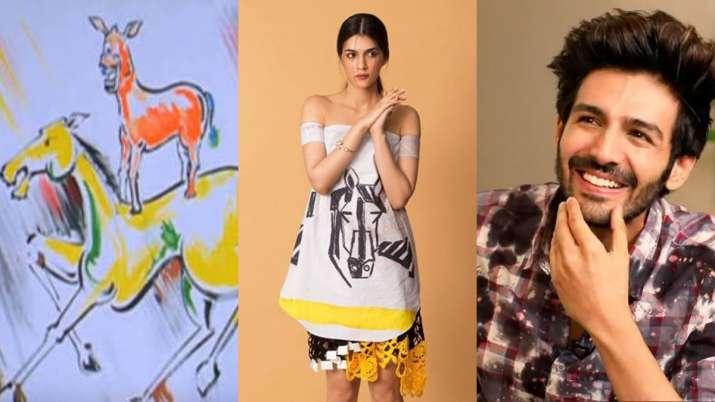 Kartik Aaryan thinks Kriti Sanon's dress has been painted by 'Majnu Bhai' from Welcome. Here's why