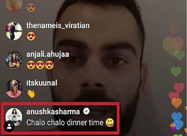Anushka's message during Kohli's live Instagram chat