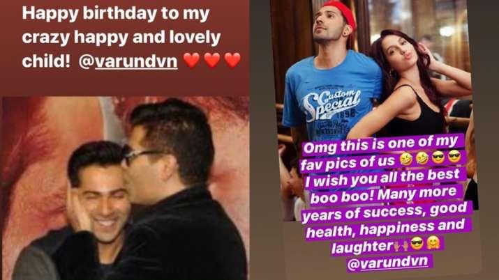 India Tv - Karan Johar and Nora Fatehi's birthday wish for Varun Dhawan