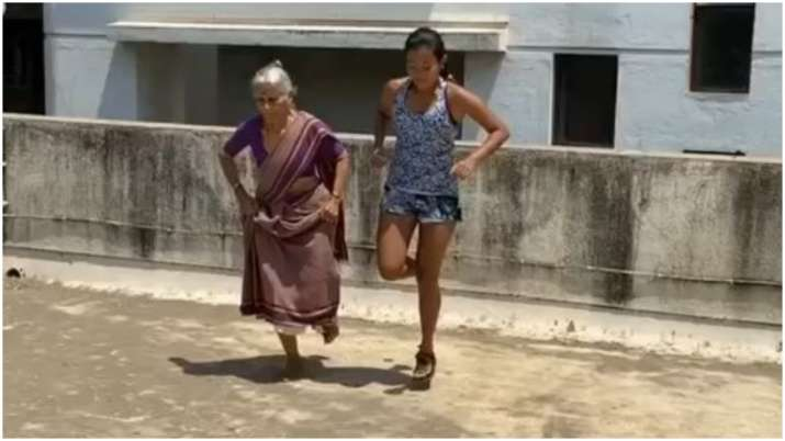 Milind Soman's 81-year old mother does one-legged box jumps with Ankita Konwar, watch video