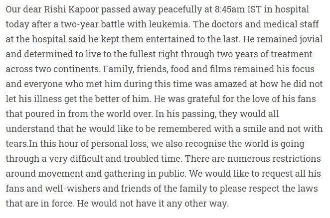 India Tv - Statement from Kapoor family