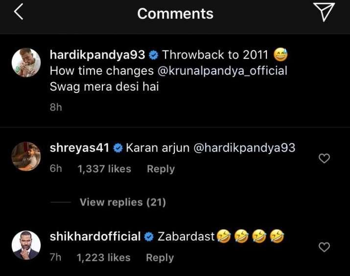 India Tv - Hardik Pandya shares throwback photo with brother Krunal; Iyer, Dhawan react