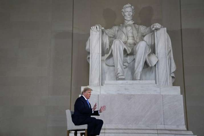 President Donald Trump speaks during a Fox News virtual town hall from the Lincoln Memorial, Sunday,