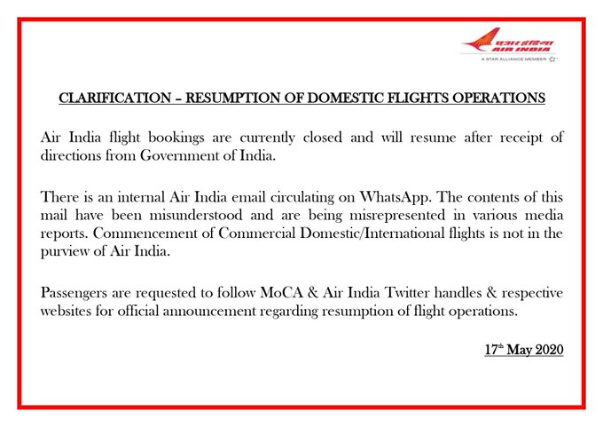 Air India To Not Resume Domestic Flights From May 18 India News India Tv