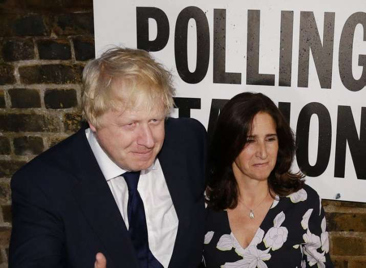 British MP Boris Johnson and his wife Marina, photographed after voting in the EU Brexit referendum