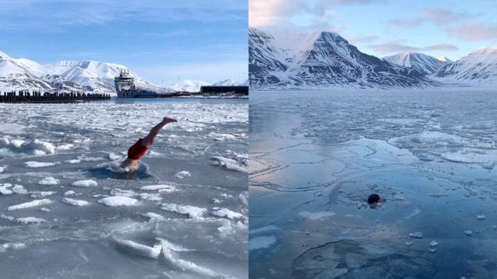 Video of Norwegian diver jumping into ice water goes viral, Netizens ask the temperature
