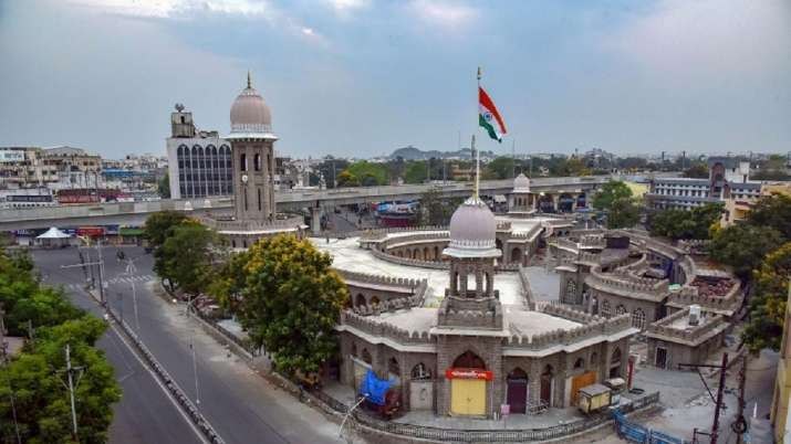 A view of deserted Mozamjahi market in Hyderabad during the