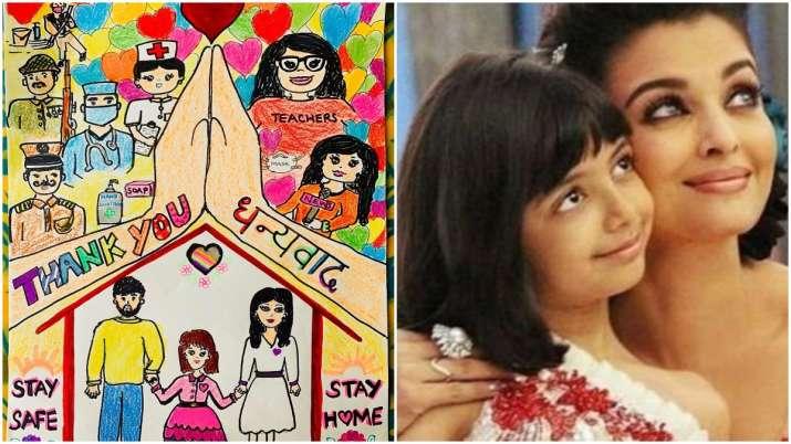 Aishwarya Rai Bachchan shares sketch by daughter Aaradhya as a tribute to coronavirus warriors