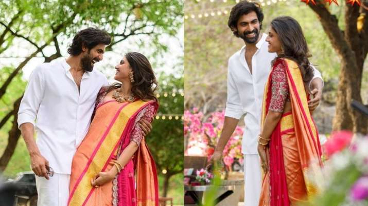 India Tv - Rana Daggubati and fiance Miheeka Bajaj unseen photos from engagement ceremony