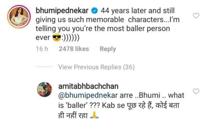 India Tv - Bhumi Pednekar comments on Amitabh Bachchan's post