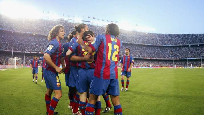 India Tv - FC Barcelona players celebrate Leo Messi's goal during the La Liga match between FC Barcelona and Al