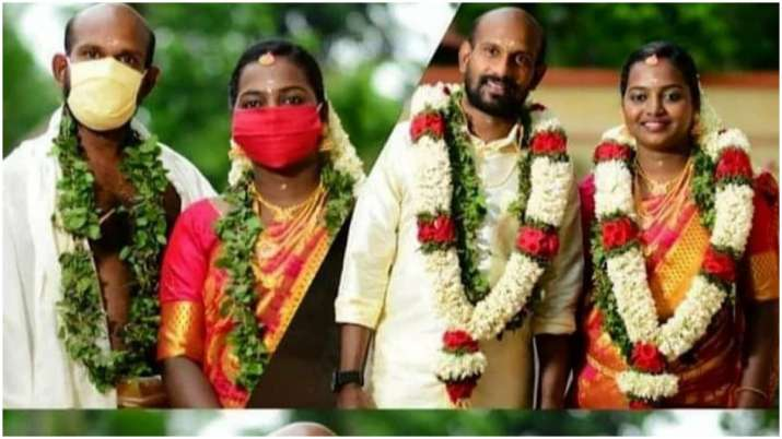 It's quarantine wedding for Malayalam actor Gokulan and girlfriend Dhanya as they pose with masks, s