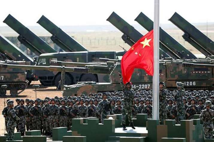 Chinese People's Liberation Army (PLA) troops perform a