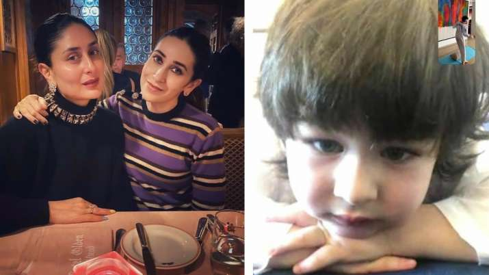 Kareena, Karisma Kapoor shares adorable photo of Taimur watching cousin Kiaan practicing taekwondo.