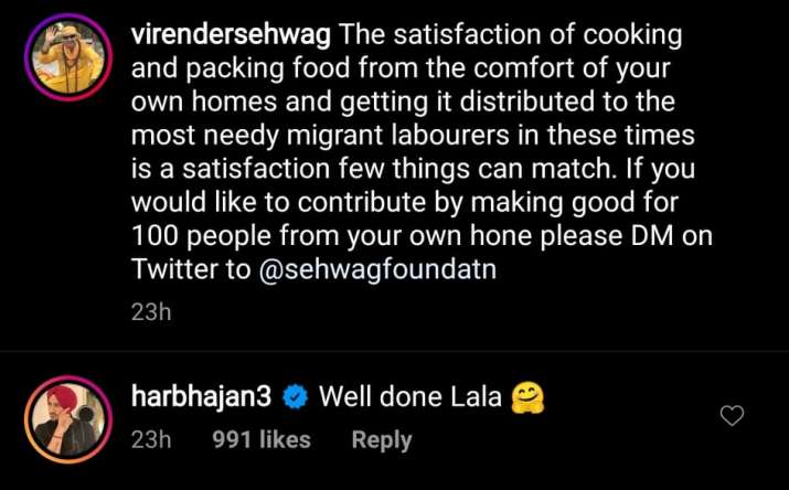 India Tv - Harbhajan comments on Sehwag's post.