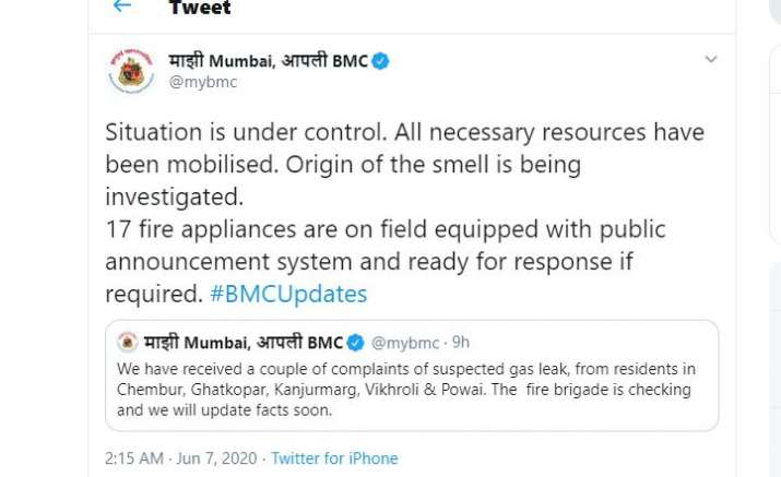 Mumbai: Several residents complained of a pungent smell,