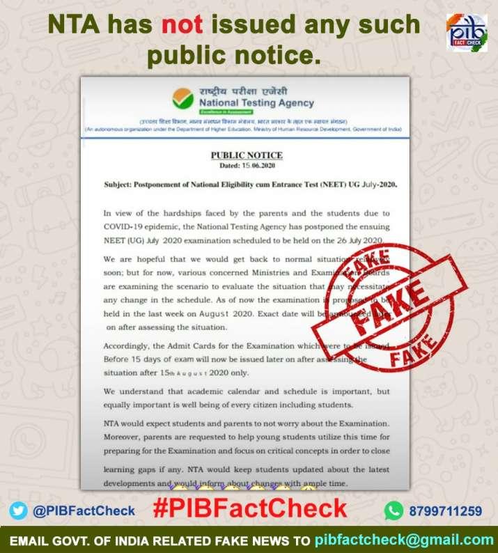 Fact Check Nta Neet Ug July 2020 Exam Postponed Or Not Latest News Education News India Tv