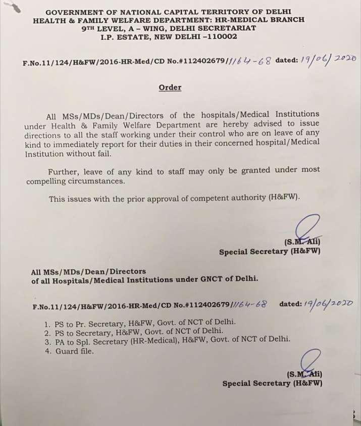 India Tv - Cancel all leaves, recall medical staff on leave immediately: Delhi govt tells hospitals, institutio
