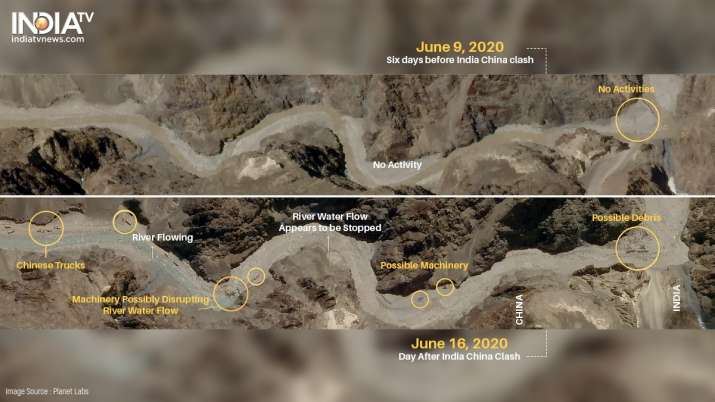 Satellite images taken between June 9 (before Indo-China clash) and June 16 (after Indo-China clash) show China trying to disrupt geography in the Gal