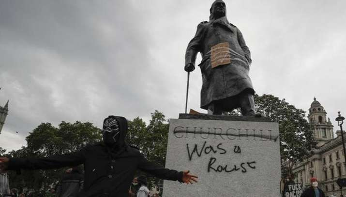 Winston Churchill's statue vandalised amid Black Lives Matter protests in London
