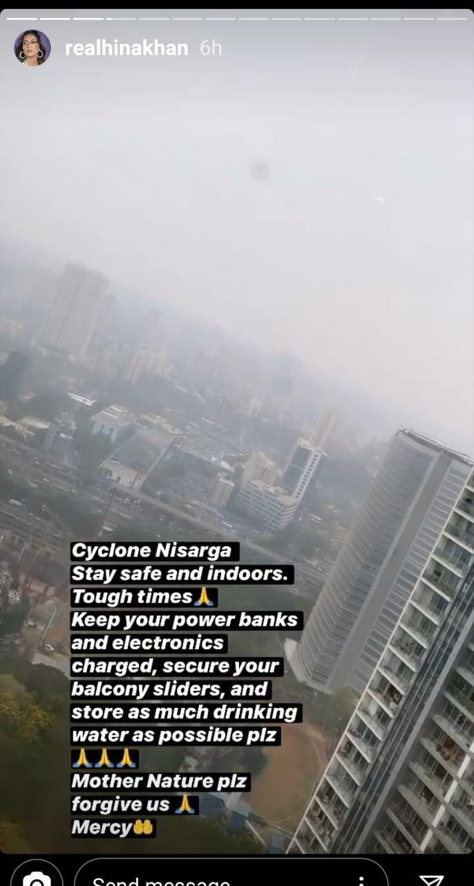 India Tv - Hina Khan's post on cyclone