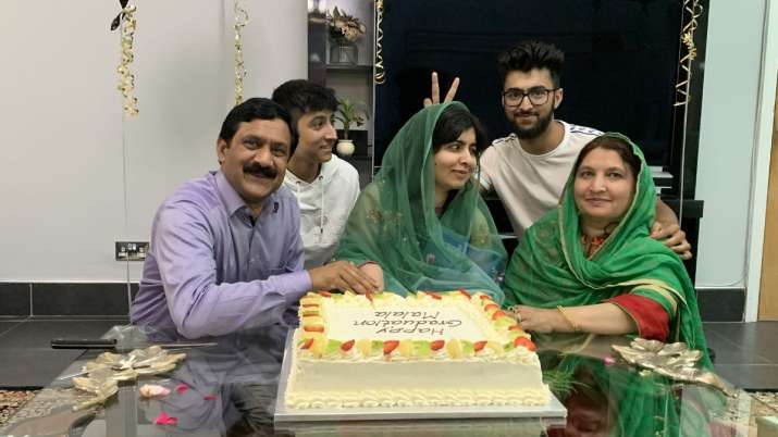 India Tv - Malala Yousafzai with father Ziauddin, mother and family members after completing her Oxford degree.