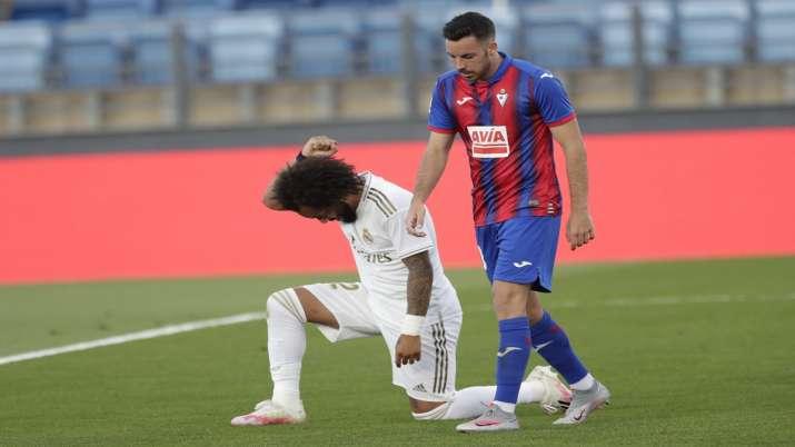 La Liga: Marcelo takes a knee as Real Madrid register 3-1 win over Eibar