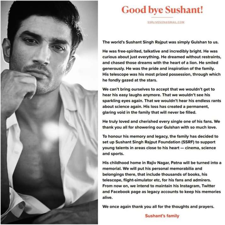 India Tv - Statement by Sushant's family