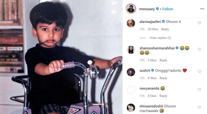 India Tv - Navya Naveli Nanda can't stop laughing at rumoured beau Meezaan Jaaferi's childhood photo