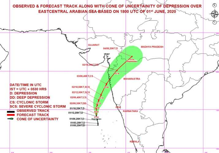 India Tv - Cyclone Nisarga: The depression over east-central Arabian intensified into Deep Depression