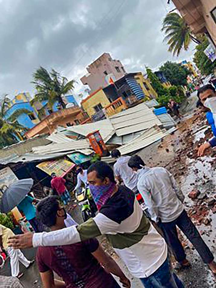 India Tv - Destruction and damage caused by cyclone Nisarga, at Chinchwad in Pune, Wednesday, June 3, 2020. Cyclone Nisarga made landfall near Maharashtra's coastal town of Alibag, around 100 kilometers (60 miles) south of Mumbai, on Wednesday afternoon