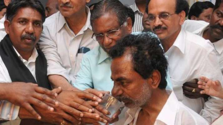 India Tv - The now Chief Minister and the then Telangana movement leader and TRS president K Chandrashekhar Rao