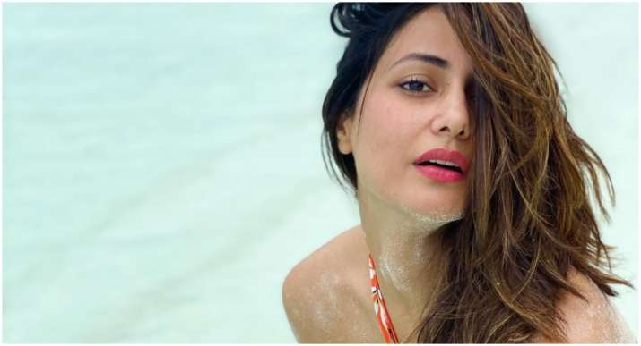 Bigg Boss 11's Hina Khan poses in orange swimwear in these throwback pictures
