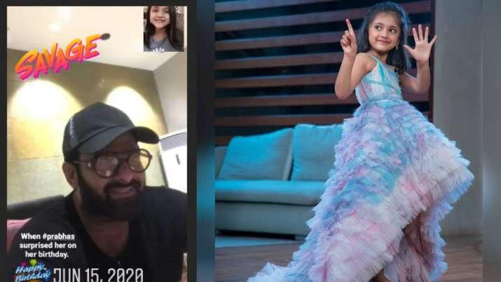 India Tv - Prabhas surprises actress Lakshmi Manchu's 6-year old daughter on birthday