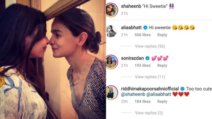 India Tv - Riddhima Kapoor reacts to Alia Bhatt's adorable photo with sister Shaheen