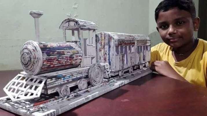 12-year-old Kerala boy's newspaper train model leaves Railway Ministry impressed