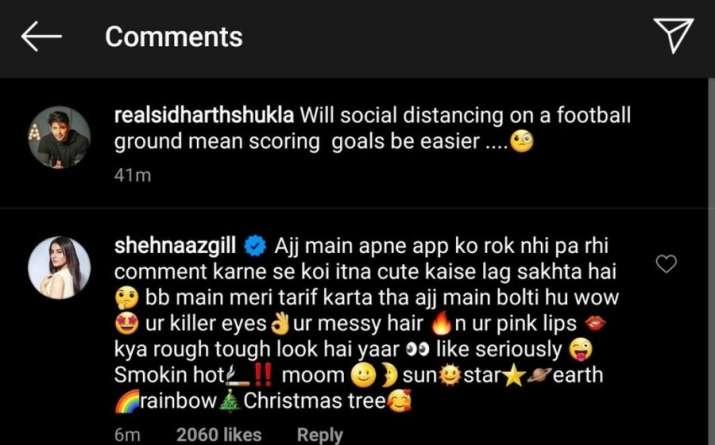 India Tv - Shehnaaz Gill's flirtatious comment on Sidharth Shukla's lastest photo