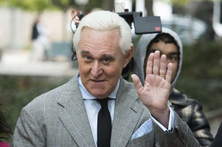In this Nov. 7, 2019, file photo, Roger Stone arrives at federal court in Washington. (AP Photo/Clif