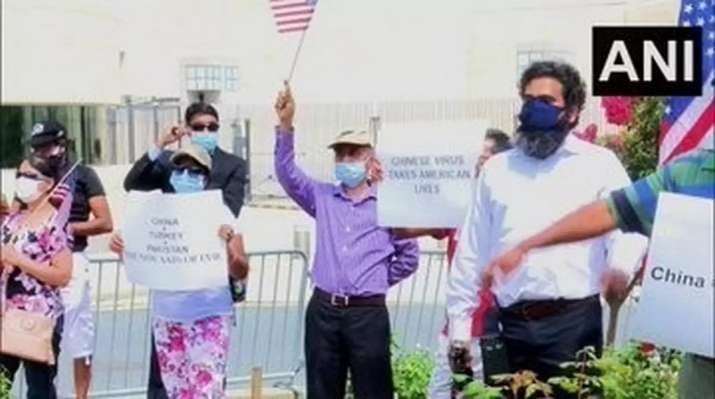 Indian-Americans hold protest in front of China's embassy in Washington