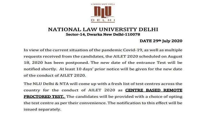 AILET 2020: NLU Delhi postpones All India Law Entrance Test. Check details