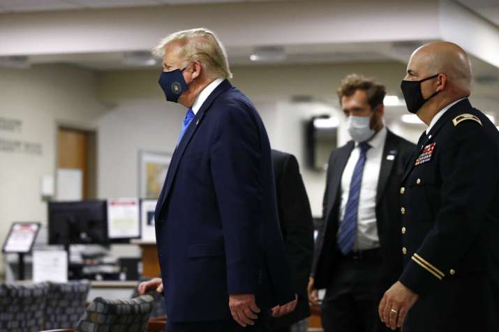 India Tv - Donald Trump wears mask in public for the first time