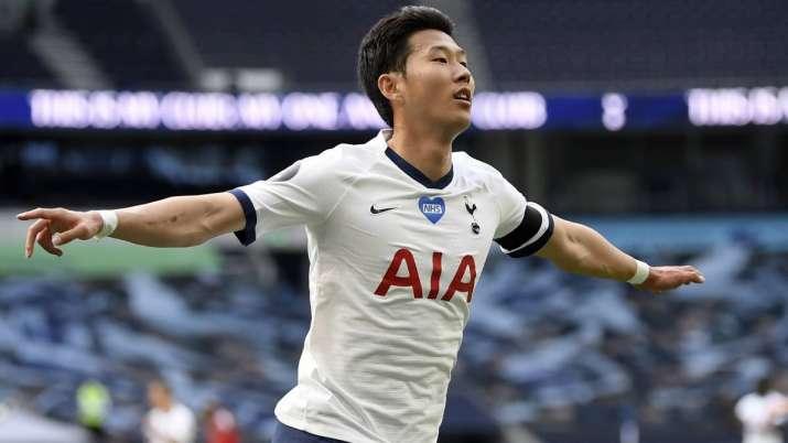 Tottenham's Son Heung-min celebrates after scoring his