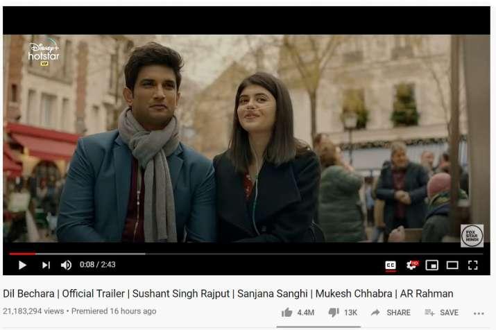 India Tv - Sushant Singh Rajput, Sanjana Sanghi starrer Dil Bechara trailer