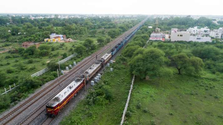 India Tv - The record 2.8 km long freight train was successfully operated by the Railways.