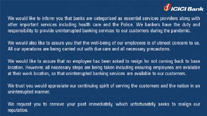 India Tv - ICICI Bank issued statement on the above matter