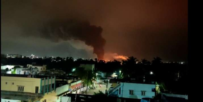 Chain of explosion, fire in Visakhapatnam's Pharma City, emergency services at spot