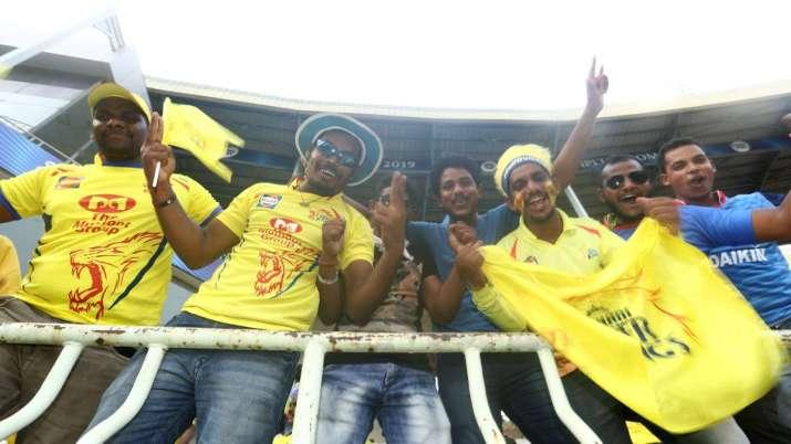 Chennai Super Kings fans during IPL 2014 in UAE