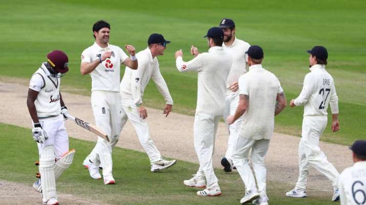 James Anderson of England celebrates after taking the