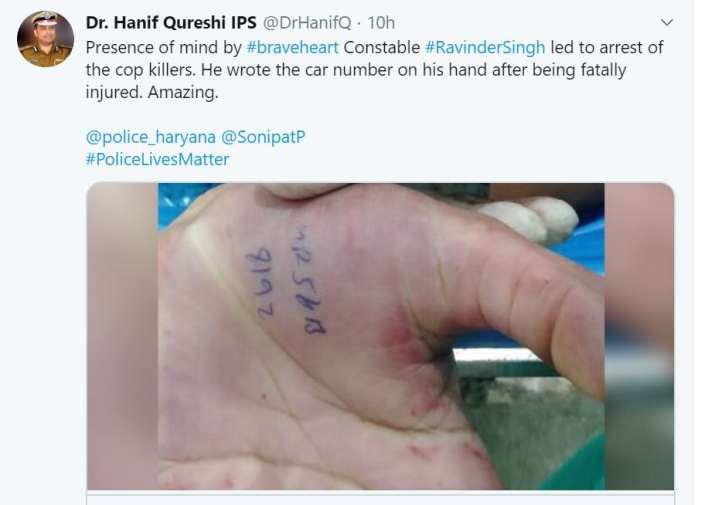 India Tv - Haryana cop scribbles murderer's vehicle number on palm before dying, leads to accused's arrest