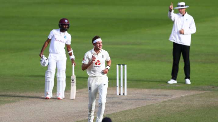 Stuart Broad during his fine spell on day 4 of Manchester